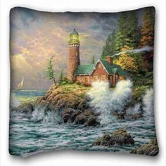 Soft Pillow Case Cover ( Nature Sea Ocean thomas kinkade lighthouse sea art painting ) Zippered Body Pillow Case Cover Size 16