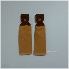Hanging Kitchen Towels Tan and Brown by DebbieCrochets on Etsy