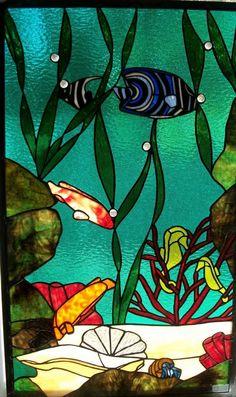Glass Aquarium Stained Art Tropical Fish Aquarius Mosaic All Goldfish Bowl Merman
