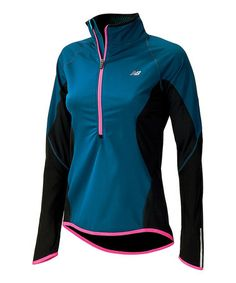 Look at this #zulilyfind! Poseidon Blue & Black Running Tech Pullover - Women by New Balance #zulilyfinds