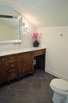 Our Flip's Floor – After – Large Herringbone tile pattern – Flooring Groutable Vinyl Tile, Vinyl Tiles, Vinyl Flooring, Bathtub Tile, Bathroom Floor Tiles, Herringbone Tile Pattern, Herringbone Floors, Herringbone Backsplash, Upstairs Bathrooms