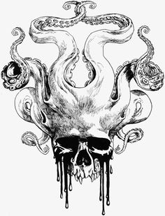 Great illustration of a skull and octopus hybrid. Skull by *KGBigelow on deviantART Octopus Tattoos, Skull Tattoos, Tentacle Tattoo, Kraken Tattoo, Octopus Octopus, Octopus Drawing, Chest Tattoo Octopus, Octopus Sketch, Octopus Artwork