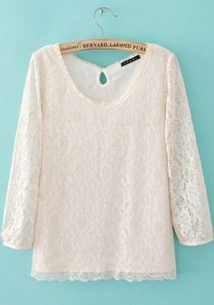 Beige Lace Round Neck Long Sleeve Print TOPS