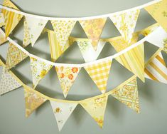 Party Bunting - Bunting Banner - Pennant Banner - Fabric Flag Garland - Vintage Fabric - Yellow on Etsy, $27.50