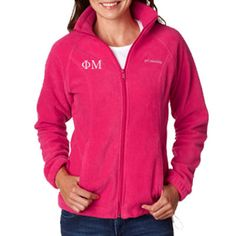 Keep warm with this custom embroidered greek jacket.  Available in any color and sorority or fraternity.  Phi Mu.