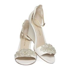 Ladies Ivory Wedge shoes with ivory pearl and diamond flowers. Style: 'Heaven Wedge W1406'