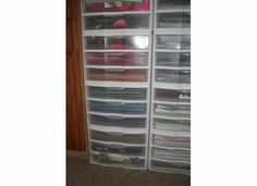 12 by 12 drawers stacked with solid colors on one side and patterned paper on the other side