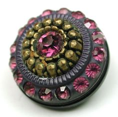 Vintage Celluloid Button w Glass Jewels Brass OME | eBay