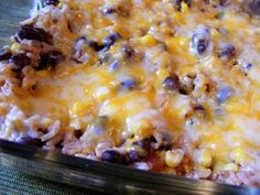 Easy Southwest Rice and Beans -2 cups cooked rice, 2 cups black beans, 1 cup corn, 1/2 cup salsa, 1-2 tsp. cumin, 1/2 cup cheese. Mix ingredients, put in baking dish and sprinkle with cheese. Bake 350 for 20 minutes.