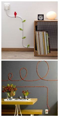 FOR WIRES THAT YOU JUST CAN'T HIDE - SORT OF WHIMSICAL...cable organisation 'wire blooms'
