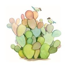 cactus and bird print by joojoo: love this soft color pallete
