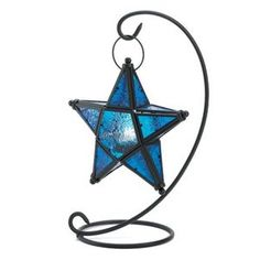 10 Wedding Black Blue Sapphire Stars Lanterns. Perfect for centerpieces. My colors