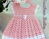 Items similar to Baby Girl's Pink Dress with Matching Hat on Etsy