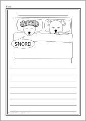 A set of simple printable sheets featuring images from the story of Peace at Last for children to colour along with writing lines for story-related writing. Free Teaching Resources, Teacher Resources, Work Activities, Preschool Activities, Peace At Last, Early Years Classroom, Writing Lines, Teaching Materials, Library Books
