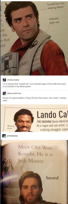 Poe's tousled hair, Lando's winning smile, and Obi-wan's beard. The most important factors of Star Wars Star Wars Film, Star War 3, Death Star, The Force Is Strong, Bad Feeling, Star Wars Humor, Love Stars, Obi Wan, Reylo