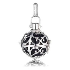 24mm (Large) Silver Rhodium Plate Engelsrufer Cage Pendant with Black Soundball (R1699)