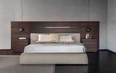 Pianca People And Impunto Bed - People bedroom composed of wooden wall mounted panels and Impunto Queen or King Size upholstered bed frame. Bed Headboard Design, Bedroom Bed Design, Bedroom Furniture Design, Modern Bedroom Design, Home Room Design, Headboards For Beds, Bed Furniture, Contemporary Bedroom, Home Decor Bedroom