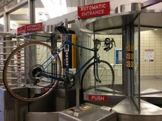 Bike stuck in TTC turnstile: Write a caption for this photo on Facebook #cycling #Toronto