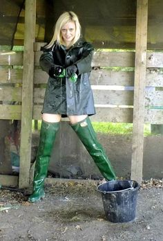 Green thigh waders