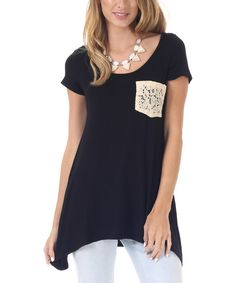Take a look at the Black Crochet Pocket Sidetail Top on #zulily today!