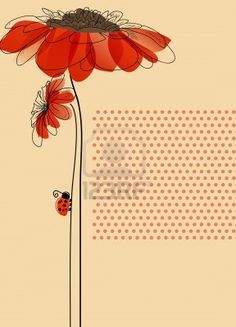 Elegant card with flowers and cute ladybug  Stock Photo