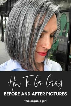 Growing my hair out gray has been one of the scariest and most rewarding experiences of my life. Documenting what months 1-18 look like with pictures for every month plus what products to use, milestones to look forward to and more! #thisorganicgirl #goinggray #howtogogray #goinggraypics #organichair #naturalhair Brown Hair Going Grey, Black And Grey Hair, Long Gray Hair, Going Gray, Long Hair Cuts, Grey Hair Diy, Grey Hair And Makeup, Gray Hair Growing Out, Grow Hair