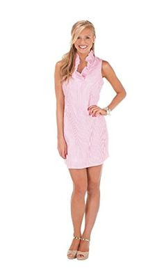 52125af4cea Sailor Seersucker Dress - Pink By Mudpie Sleeveless, fully lined cotton  seersucker dress features standing ruffle around neckline and placket with  invisible ...