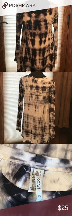 Long sleeved tye dyed shirt..cute with a jacket Super cute very comfortable long sleeved shirt ! Comfortable fabric perfect with leggings skinny jeans , boots etc etc. shirt is a little longer in the back ! A must have and can pair up with cute vest jacket and belt XCVI Tops Blouses