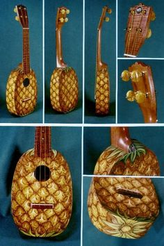 Pineapple Ukulele- apparently Kaleb is going to get me a cheap round one and paint a pineapple on it so I don& have to waste money on something painted like that:). Ukulele Art, Cool Ukulele, Ukulele Chords, Guitar Art, Pineapple Ukulele, Painted Ukulele, Painted Guitars, Ukulele Design, Music Stuff