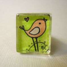Bird Ring  Whimsical Art  Pink And Green Woodland by cellsdividing, $36.00