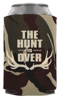 TWC-6833 - The Hunt Is Over - Rustic Wedding Can Coolers #koozies #wedding