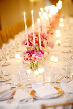 Bold Pink Flowers and Candles Reception Decor | http://www.jenlynnephotography.net/