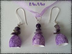 VIOLET SILK and AMETHYST handmafe jewelry set of earrings & pendant by LanAArt