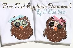 Owl shirt, free applique pattern!