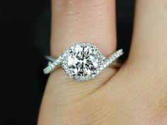 Rosados Box Maritza 7mm White Gold Round FB Moissanite and Diamonds Halo Twist Engagement Ring