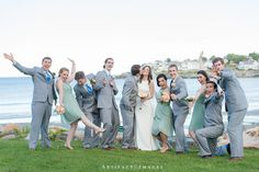 Wedding Party Fun ~ July Beach Wedding at Union Bluff Meeting House, York, ME ~ Photography by Artifact Images NH, ME, MA Wedding Photographers