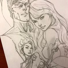 ✏️A WIP shot of the in-progress pencils to my upcoming Jean Grey exclusive cover, featuring Scott and Jean and the Black Queen all circa 70s. #jeangrey #xmen #scottsummers #blackqueen #phoenix #marvelcomics #comicbookart #comicbooks #art #drawing #pencildrawing