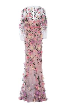 Embroidered Sheer Gown by MARCHESA Now Available on Moda Operandi