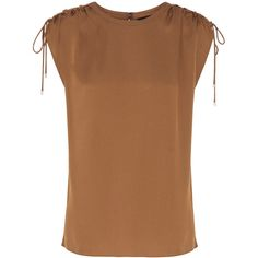 Theory - Malkara Modern Ruched Silk-satin Top (€110) ❤ liked on Polyvore featuring tops, tan, drawstring top, keyhole top, ruched top, ruching tops and rouched top