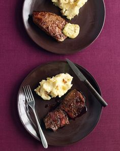 Because flat-iron steaks are well marbled, there's no need to add oil to the skillet. When cooked up to medium, they remain tender and juicy. Our stir-together mustard sauce is another delicious accompaniment.