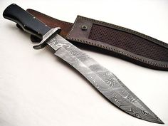 Custom hand made damascus steel fixed blade hunting knife with leather cover