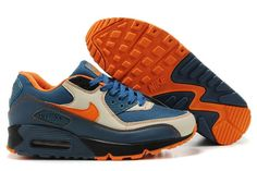 Men's Nike Air Max 90 Grey Orange Blue Color:Grey Orange Blue * With the AIR MAX on the side panel and a visible coloured air bubble, * Features the colorful breathable upper with a mix of smooth leather for strong support. Air Max 90 Grey, Air Max One, Nike Air Max 2012, Cheap Nike Air Max, Nike Air Max For Women, Mens Nike Air, Nike Women, Air Max Style, Discount Nikes