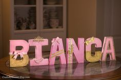 Pink and Gold Letters Photo Prop Centerpiece 8 by CraftsByBiessel