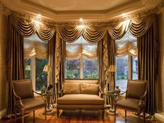 Furniture: Fascinating Bay Window Treatments Bedroom Also Vintage Bay Window Curtains from 5 Tips In Decorating Your Home With Bay Window Curtains Picture Window Curtains, Bay Window Curtains, Brown Curtains, Cool Curtains, Beautiful Curtains, Valance Curtains, Drapery, Window Swags, Windows