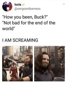 I believe DYING is the right word << Because just look at his smile!! Steve's Bucky is back and awwwwwwww