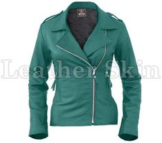 Leather Skin Women Sea Green Brando Synthetic Leather Jacket - Real Time - Diet, Exercise, Fitness, Finance You for Healthy articles ideas Summer Outfits Women 30s, Green Leather Jackets, Jackets For Women, Clothes For Women, Women's Jackets, Korean Fashion Men, Leather Skin, Black And White Portraits, Boho Fashion