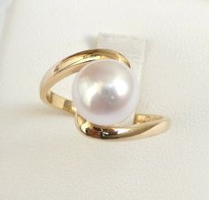 Pearl engagement ring gold pearl ring womens ring by havalazar, $385.00