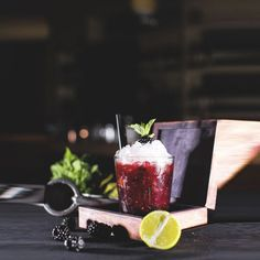 Very berry power! Our Tennessee Tipple is made with Jack Daniel's sour mash whiskey and Chambord black raspberry liqueur muddled with fresh blackberries and lime and delicately sweetened with vanilla syrup.