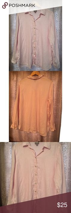 J. Jill Long Sleeve Pink Linen Button Top Medium Pre-owned, in great condition. J. Jill button front pink linen blouse. 100% linen. Made in Indonesia. J. Jill Tops Button Down Shirts