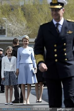 King Philippe of Belgium, Queen Mathilde of Belgium and Princess Elisabeth, Duchess of Brabant, attended the ship launching ceremony of the P902 Pollux ship with the Duchess of Brabant as official godmother, at the Zeebrugge naval base on May 6, 2015 in Zeebrugge, Belgium